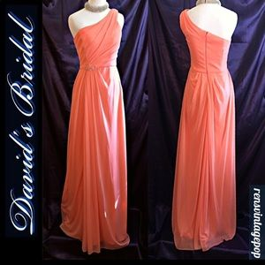 Coral One shouldered Beaded Gown